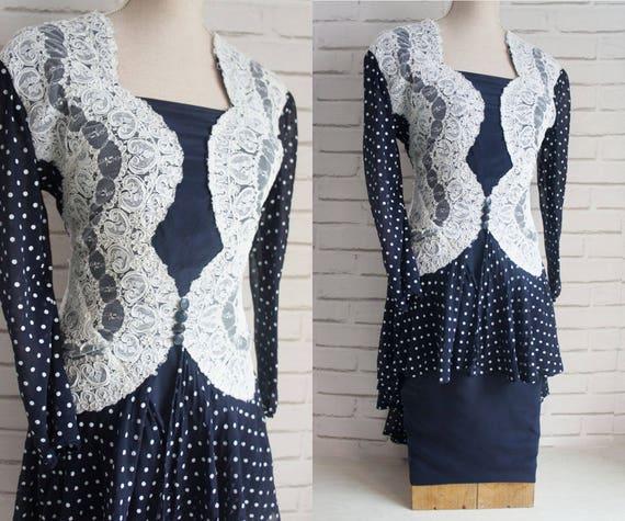 Silk dot print Large stylish Lace Dress Vintage Italian polka and dress Vintage dress Silk TwwA6dq