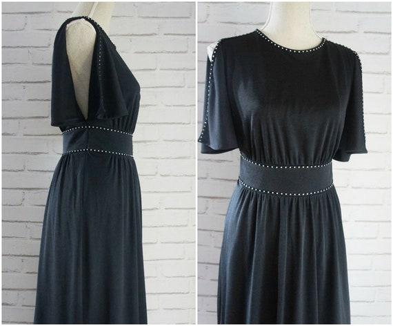 Black dress Maxi Black Strass dress 70s vintage Maxi Open Dress shoulder MAxi PXgwxpq