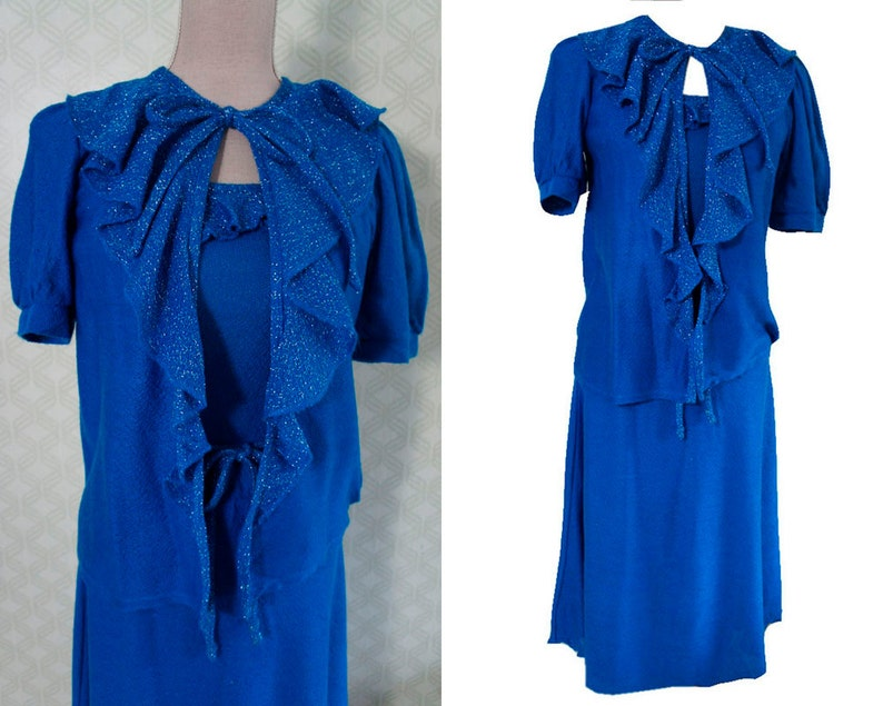 Vestidos azul electrico con plateado