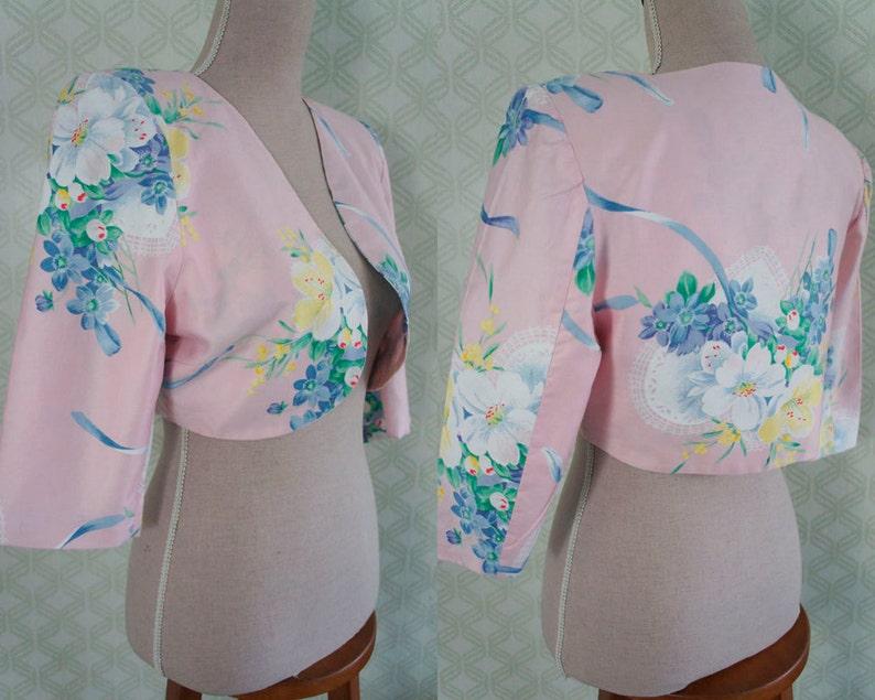 Made in italy. Pale pink floral print bolero Elegant vintage bolero jacket
