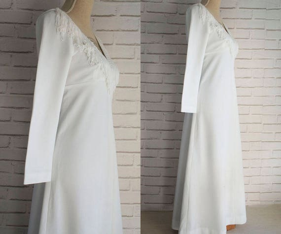 White empire dress waisted 70s Maxi Vintage Small Maxi fringed dress size fringed Vintage neckline rqw6x0rf