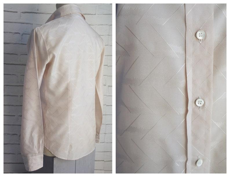 70s Medium beige size M blouse Embossed Silk Blouse.