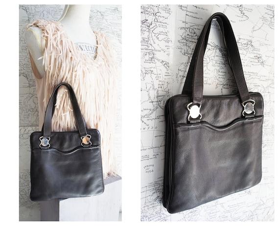 60s Black leather Handbag - Top handle Bag -