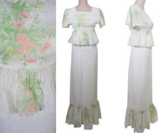 White, Ceremony, Party, Wedding, Celebration gown maxi dress. Romantic. Floor length.  pink, green  Lovely floral pattern. Ruffled hem. XS.