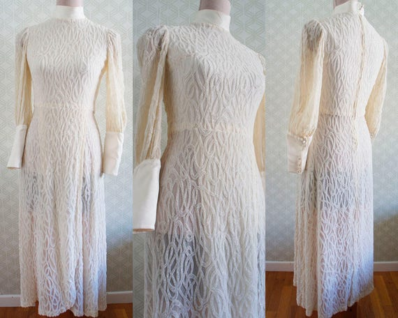 Art neckline Nouveau Bride 70s Wedding dress Wedding Vintage wedding dress High Dress qzAZxx7wt