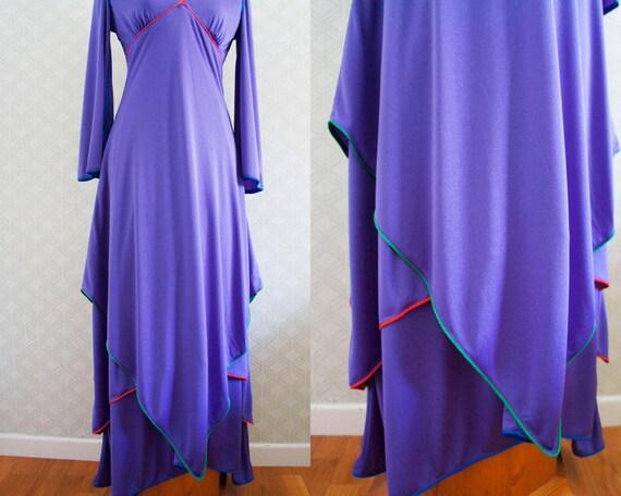 Maxi Vintage dress Purple Layered Vintage Maxi Dress 70s Statement w6vOqn
