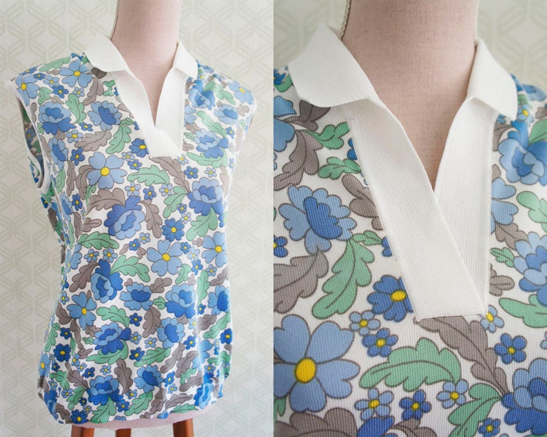 Mod style Vintage Polo made in Italy 70s Blue and green daisy print.