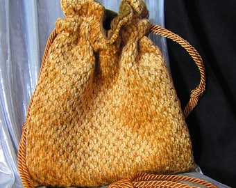 8.5 x 10.5 Plush Bronze Beige Drawstring Bag Green Lining