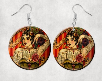 Mother and baby Round Klimt jewelry FREE SHIPPING freshwater mother of pearl Mother of Pearl Earrings