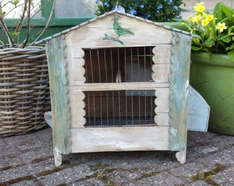green Birdcage white and soft blue wooden antique French