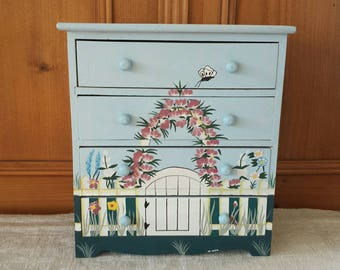 Small chest of drawers cabinet floral painted for dolls or girlu0027s room & Small drawers | Etsy