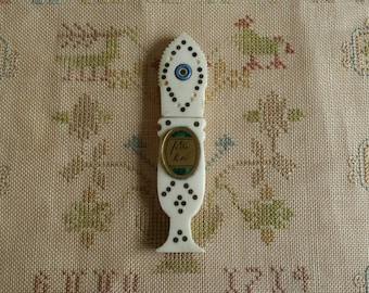Needle case, antique French, bovine bone cloute