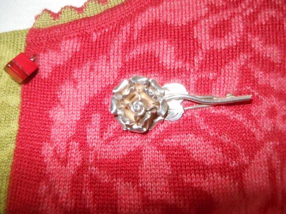 Silver rose brooch - image 3