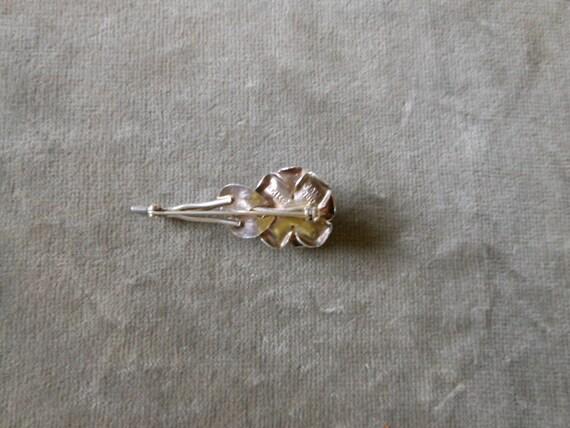 Silver rose brooch - image 5
