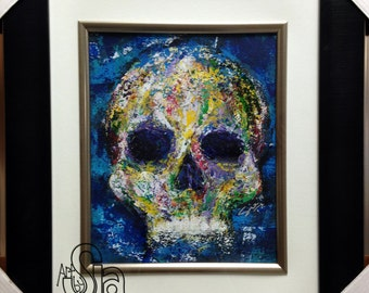 ORIGINAL Skull Painting - FRAMED & MATTED - Wall Art - Home Decor - Unique - Zombie Artwork - Colorful