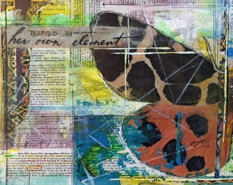 PRINT of Trapped In Her Own Element - Colorful Mixed Media - MATTED Print - Abstract - Unique - Painting - Drawing - Collage