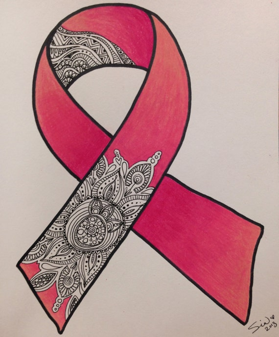 Print Of Breast Cancer Ribbon Zentangle Matted Print Etsy