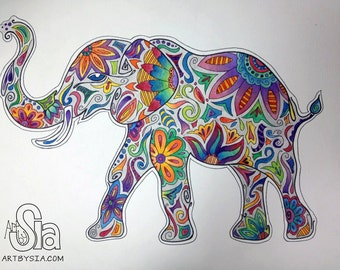 PRINT of Watercolor Elephant - Matted Print - Colorful Wild Life - Painting - Drawing