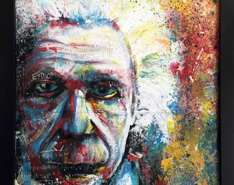 PRINT of Albert Einstein Painting - MATTED Print - Colorful Portrait Art - Wall Art - Home Decor