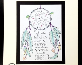 ORIGINAL Drawing - Dreamcatcher - Chase Your Dream -16x20 with matting - Wall Art - Home Decor - Unique - Feathers Beads