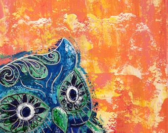 PRINT of Colorful Owl - MATTED Print - Orange and Blue - Painting