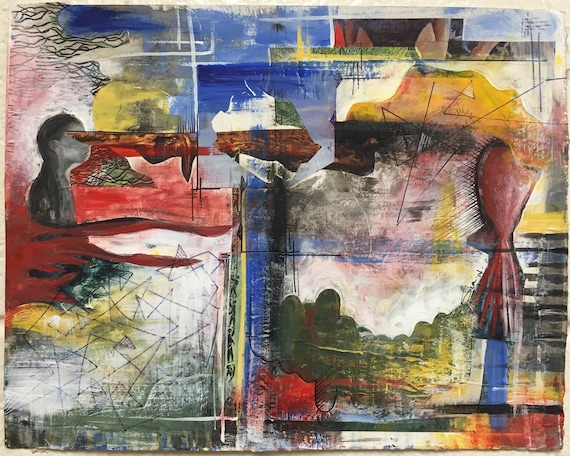 Paper Or Canvas Mixed Media 8x10 Custom Collage Commissioned Abstract Art