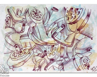 PRINT of Abstract Cubism Watercolor - MATTED Print - Pencil Sharpener - Retro - Painting - Drawing