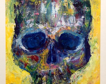 PRINT of Zombie Skull - MATTED Print - Skull Art - Colorful Design - Wall Art - Painting