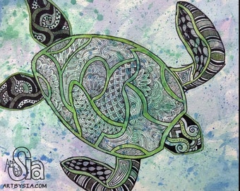 PRINT of Turtle Watercolor Zentangle - MATTED Print - Cool colors - Sea Life - Ocean - Painting - Drawing