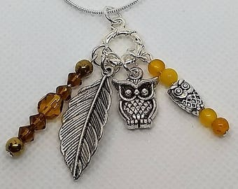 Owl Charm Necklace, 18 inch snake chain, Beaded Jewelry, silver neckace, Birthday, Owl necklace, Leaf charm, Fall jewelry, Autumn colors