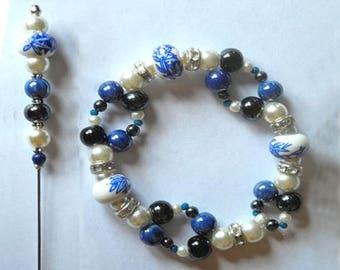 SET BROOCH BRACELET beads ceramic and Pearl