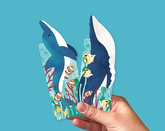 Bookmark set ocean animals - bookmarks with a humpback and dolphin, bookish gift, set of 2