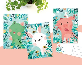 Postcards cute animals, frog, bunny and piglet - greeting card set of 3
