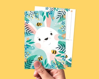 Postcard bunny and bees illustration - Greeting card animals, spring & easter
