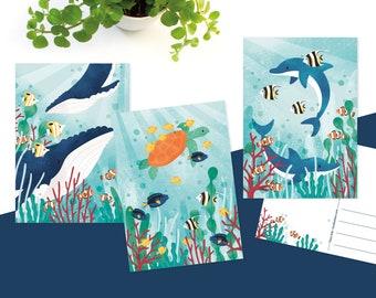 Postcards summer, ocean illustration - Greeting card set of 3
