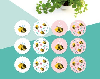 Gift tags bees - 12 cute tags with text