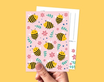Postcard little bees illustration - Greeting card summer