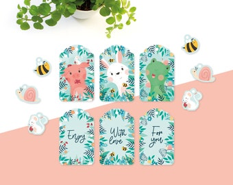 Gift tags animals and texts - 12 tags in spring colors