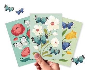 Postcards flower illustrations - Greeting card set of 3