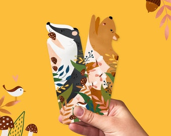 Bookmark set autumn - bookmarks with animals, bookish gift, set of 2