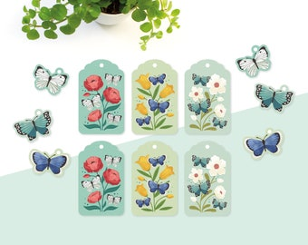 Gift tags flowers and butterflies - 12 tags in spring colors