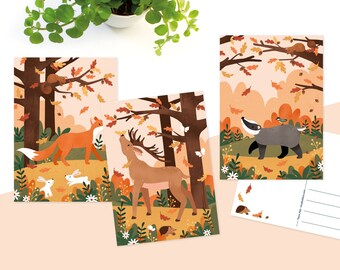Postcards autumn illustration - Greeting card set of 3