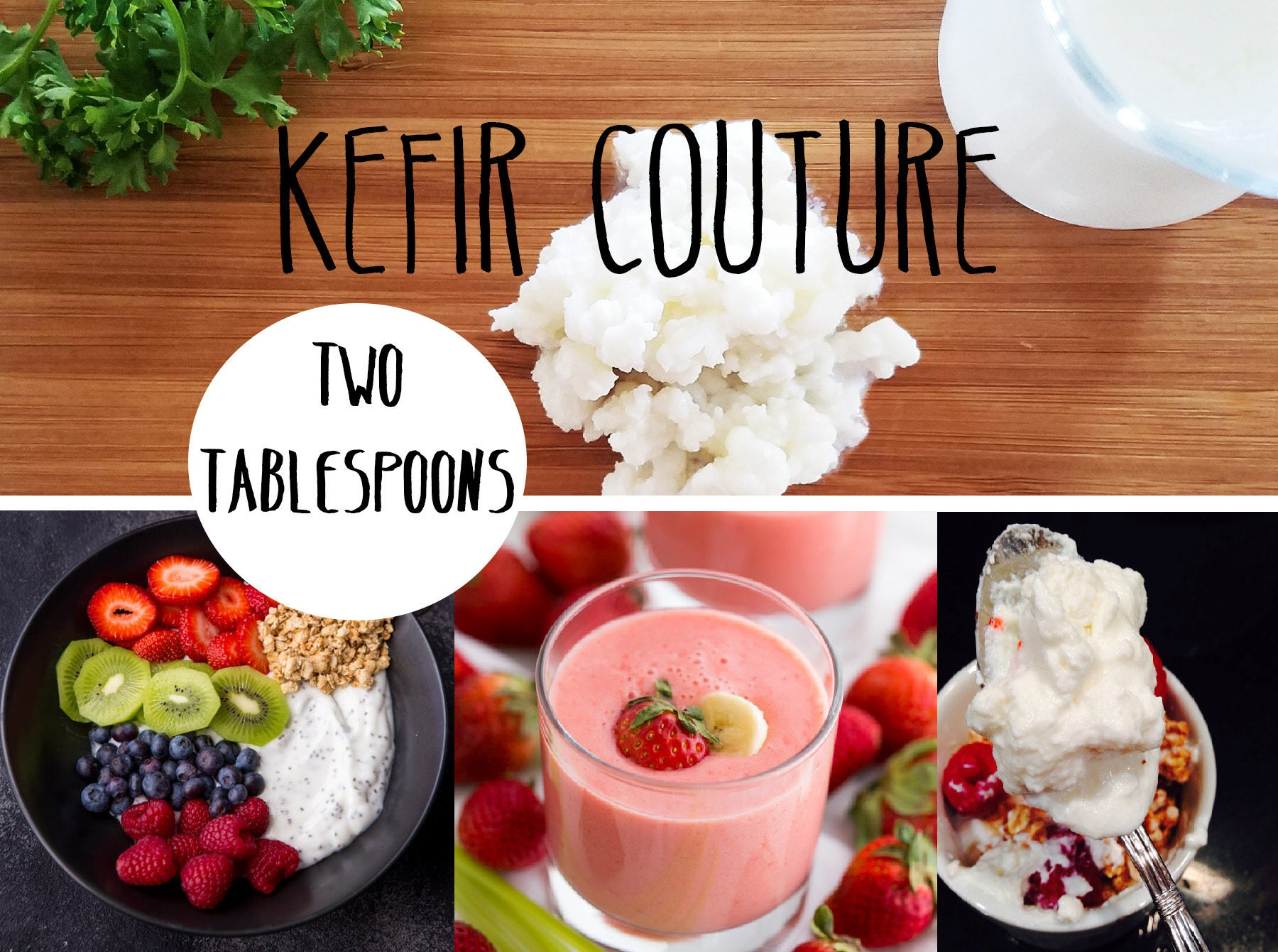 SALE! Organic Milk Kefir Grains - 2 Tablespoons