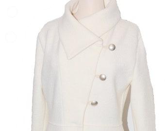 fecd1379fd Women boiled wool coat size Xs-L offwhite ivory