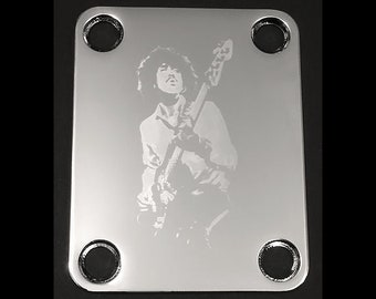 RANDY RHOADS Ozzy GUITAR NECK PLATE Custom Engraved Etched CHROME