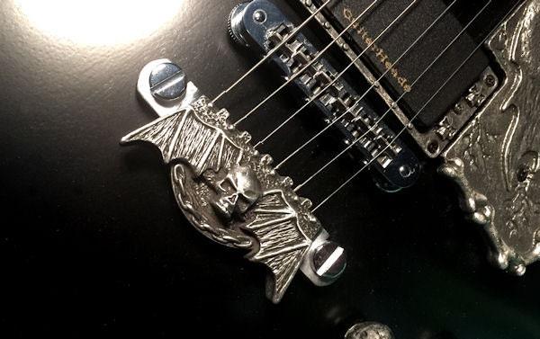 guitar parts pewter hardware skull stop bar tailpiece etsy. Black Bedroom Furniture Sets. Home Design Ideas