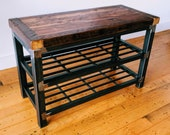 Reclaimed Wood and Steel Bench and Shoe Rack - The Jondy Shoe Rack - Free Shipping