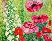Alcohol ink Art Print.  Cottage Garden Poppies.