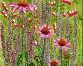 Alcohol Ink Art Print.  Cottage Garden Coneflowers.
