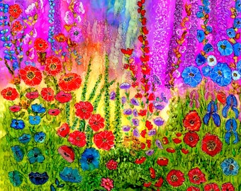 Alcohol ink art.  Alcohol in Painting. Print.  Cottage Garden.